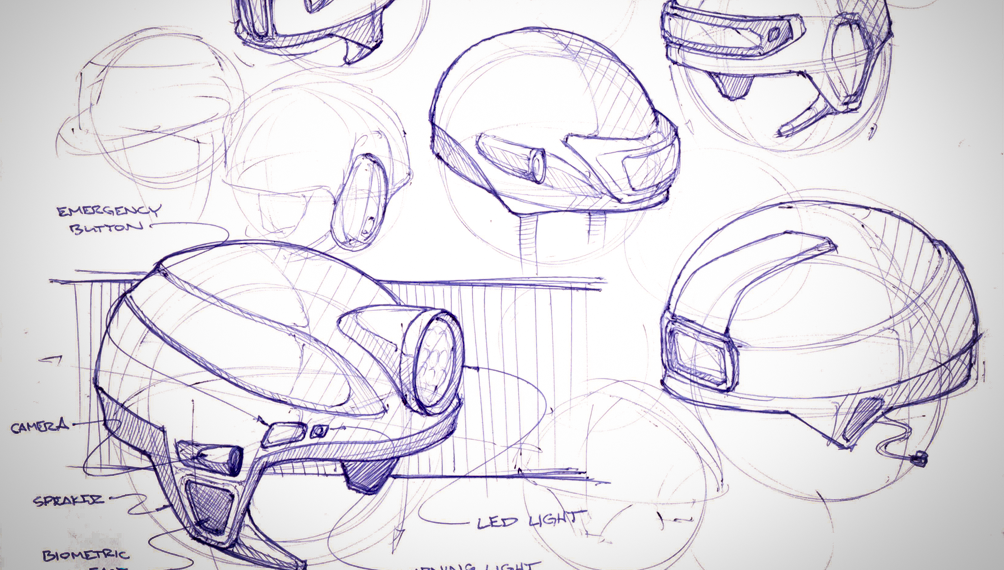 Early Concept Sketches of Mining Helmet